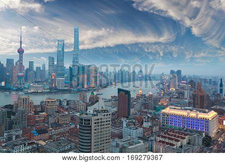 Aerial photography bird view at Shanghai bund Skyline of twilight