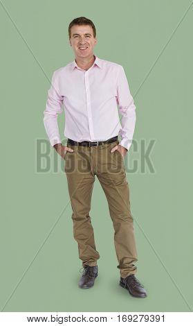 Caucasian Man Standing Smiling