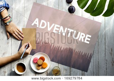 Adventure word on nature background with trees