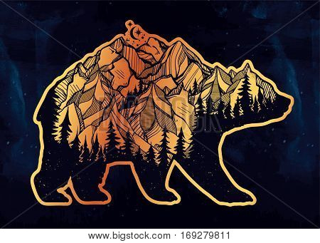 Decorative double exposure bear with nature pine forest, rocky mountain landscape range and moon. Isolated vintage vector illustration. Tattoo, travel, adventure, wildlife symbol. The great outdoors.