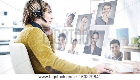 Profile pictures against businessman using computer