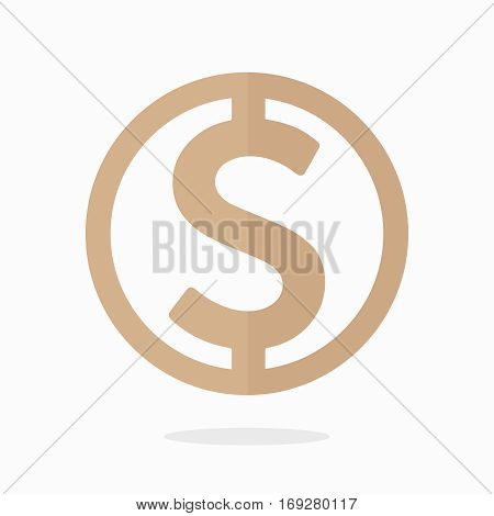 Dollar sign icon. Money label. USD currency symbol. Circles and rounded coin button. gold color. flat style. vector illustration isolated on white background.