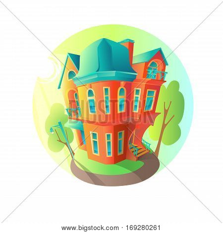 Bright vector house in the summer weather. Cottage in a Victorian style. A home with a balcony a porch and a shop with a showcase and a canopy. Round emblem