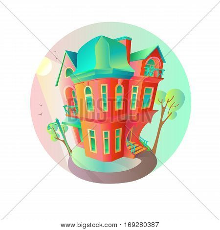 Bright vector house in the springtime. Cottage in a Victorian style. A home with a balcony a porch and a shop with a showcase and a canopy. Round emblem