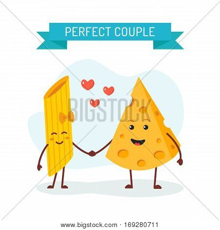 Perfect couple, cheese and pasta penne characters. Flat design. Vector illustration.