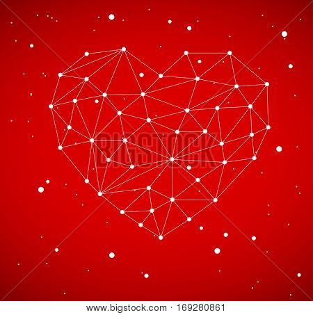 Modern heart vector illustration made from triangles - lovely network polygon image