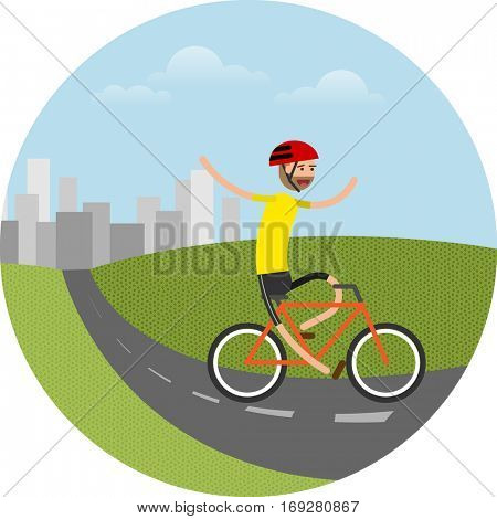 vector illustration of happy biker riding bicycle in the nature, enjoying the ride