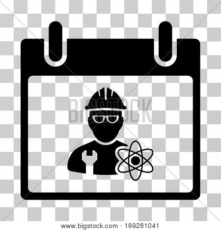 Atomic Engineer Calendar Day icon. Vector illustration style is flat iconic symbol black color transparent background. Designed for web and software interfaces.