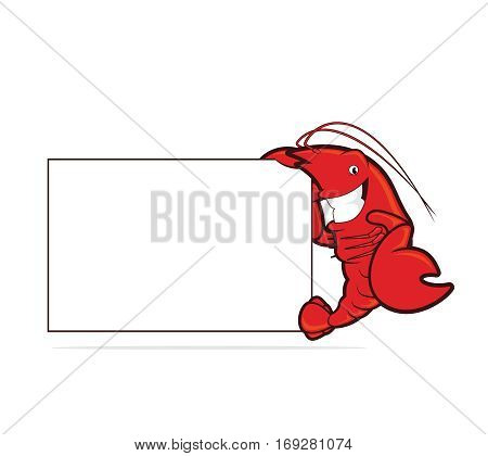 Clipart picture of a lobster cartoon character holding a blank board