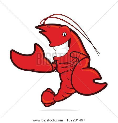 Clipart picture of a lobster cartoon character presenting something