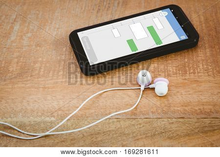 Smartphone text messaging against black smartphone with white headphones