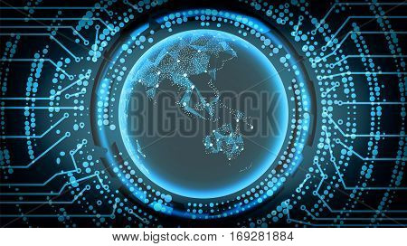 Future Technology Cyber Concept Background. Australia And Oceania. Vector Illustration