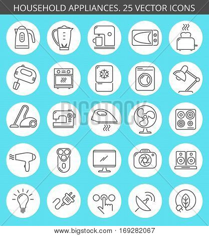 Outline icon collection of household appliances. Kitchen equipment: microwave blender oven mixer freezer toaster coffee machine kettle. Over domestic appliances: vacuum iron television fan.