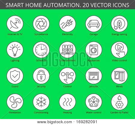 Vector thin line style icon set. Smart house and modern effective technology. Conditioning lighting energy saving systems. Suitable for infographics web social networks.
