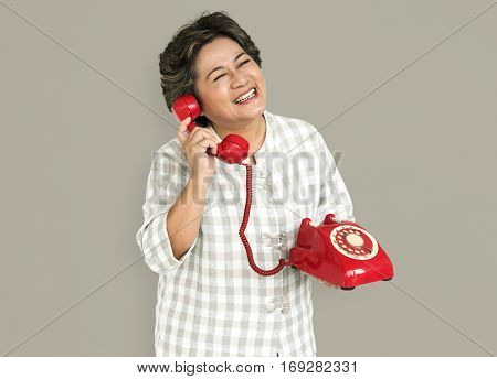 Lady Holding Red Telephone Concept