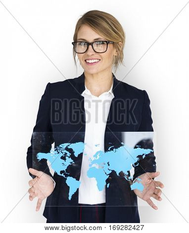 Businesswoman Smiling Happiness Global Business World Map