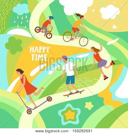 Summer activities cartoon illustration with cheerful kids riding and playing outdoor. Happy time title on decorative colorful background.