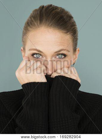 Woman Casual Sweater Cold Portrait Concept