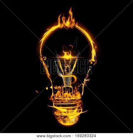Bulb on fire on white background against black