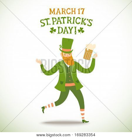 Cute cartoon leprechaun walking with beer. Including decorative title. St. Patrick's Day illustration for your design.