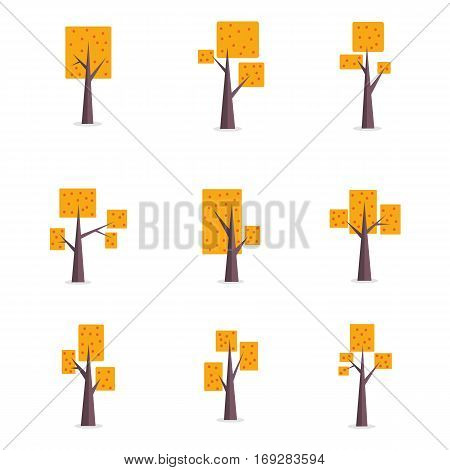 Illustration of tree style set collection stock