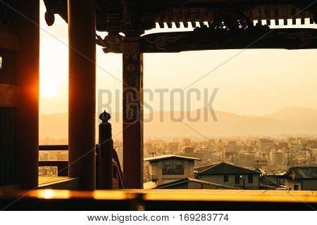 Sunset at Kiyomizu-dera Temple Kyoto Japan. Sunset at the way to Kiyomizu-dera Temple Kyoto Japan.