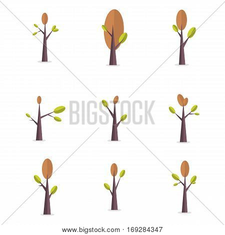 Vector illustration of tree style set collection stock
