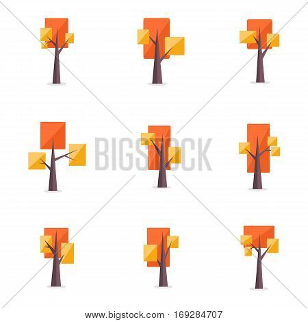 Vector illustration of tree set various collection stock