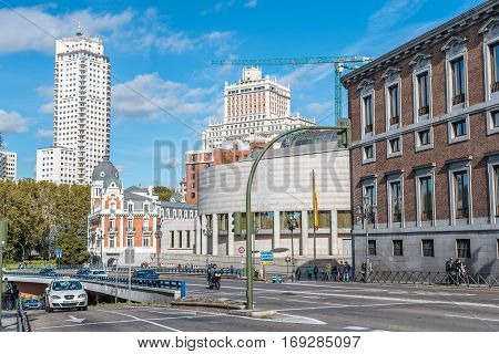 Madrid Spain - November 13 2016: Bailen Street and Spanish Senate in Madrid. Located in Madrid city Center near Royal Palace