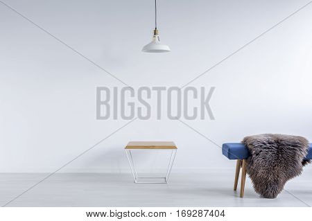 White Ascetic Room With Bench