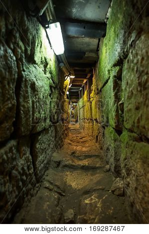 Tunnel that leads from the Shiloah pool to the Temple mount in Jerusalem it is 600 meters long. It is also called 'The Herodian road'.
