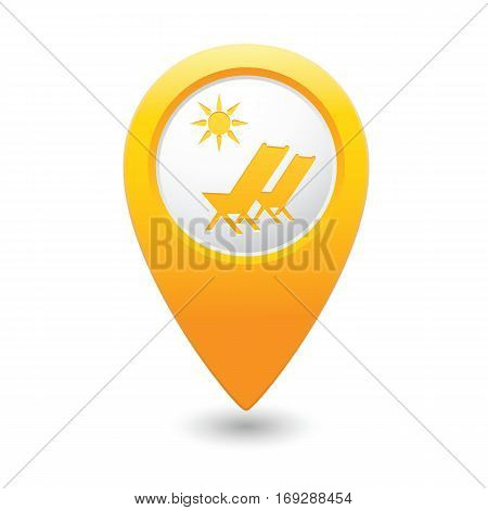 Beach chair with sun symbol on map pointer, vector illustration