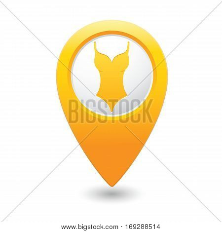 Swim suit icon on yellow map pointer. Vector illustration