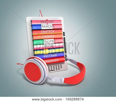 E-boock Audio Learning Languages 3D Render Image On Grey Gradient