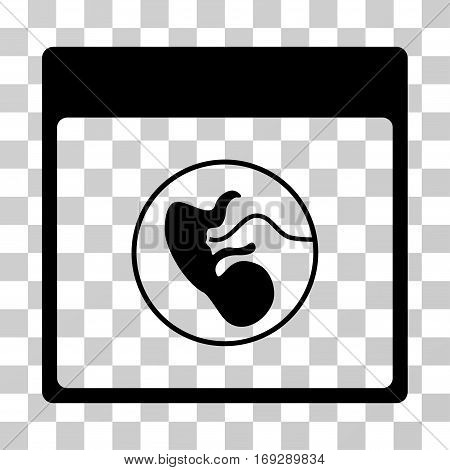Human Embryo Calendar Page icon. Vector illustration style is flat iconic symbol black color transparent background. Designed for web and software interfaces.