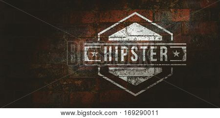 Hipster logo against texture of bricks wall