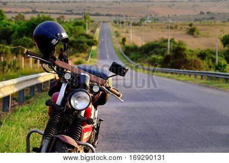 Motorbike On The Way In Summer Adventure Trip