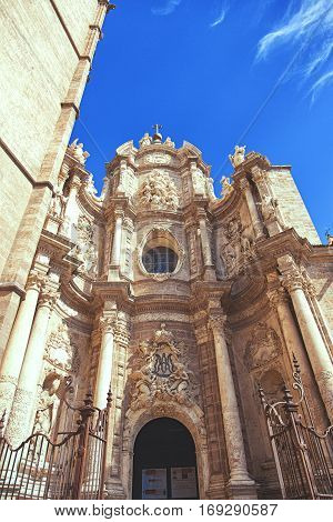 VALENCIA SPAIN - OCTOBER 1 2013: Facade of the Cathedral - Basilica of the Assumption of Our Lady of Valencia