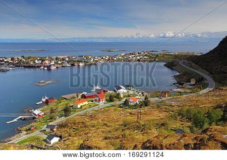 Village in norway with house Lofoten Reine
