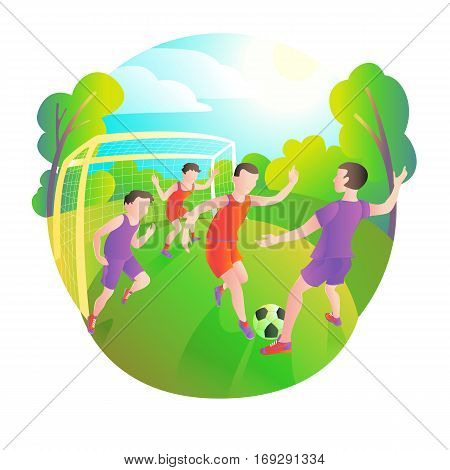 footballers playing outdoors. Football field players and ball. Goalkeeper standing at the gate.