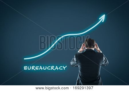 Bureaucracy growth concept. Businessman is frustrated by increasing bureaucracy.