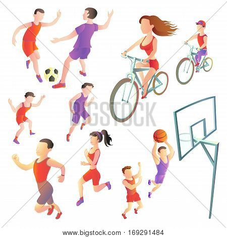 set of people involved in different kinds sports - football running cycling basketball. athletes vector images on a white background. Sportsmen in the form.
