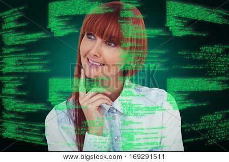 Portrait of a smiling hipster woman against green background with vignette