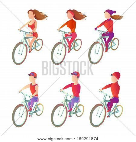 Set cyclists to ride a bike in different sportswear. athletes vector images on a white background. Characters wheelmans man and woman in all seasons