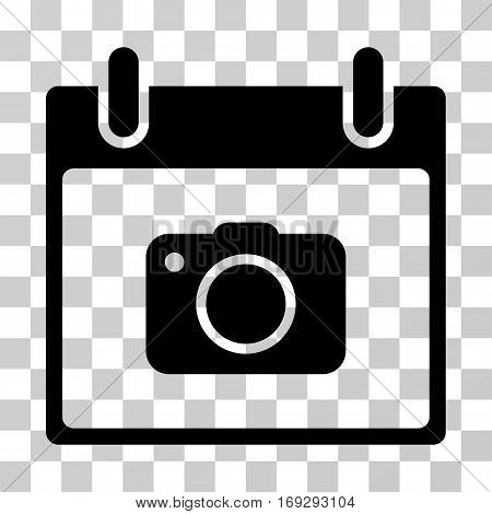 Photo Camera Calendar Day icon. Vector illustration style is flat iconic symbol black color transparent background. Designed for web and software interfaces.