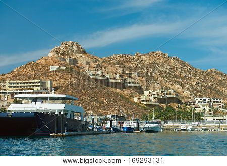 Coast line view of Cabo san lucas mexico. Boat transportation in cabo san lucas reasort
