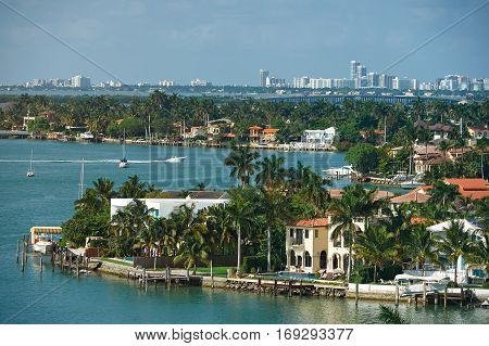 Miami cityscape during day. Panorama of maimi Florida. Coastline miami city