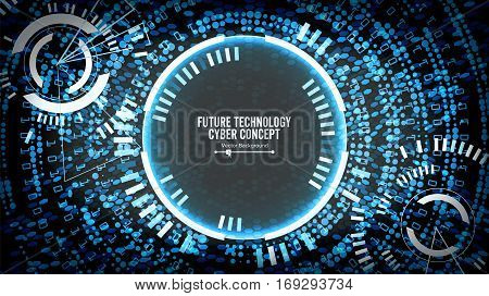 Future Technology Cyber Concept Background. Abstract Security Cyberspace. Electronic Data Connect. Global System Communication. Vector Illustration