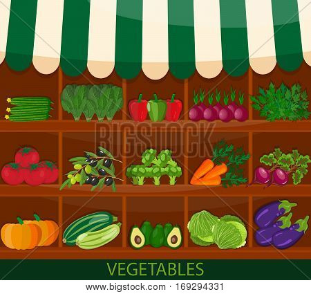 Local vegetable stall. Fresh organic food products shop on shelves. Flat vector. Local market farmer selling vegetables produce on his stall with awning. Modern flat style realistic. promote healthy eating concept. Food market shop