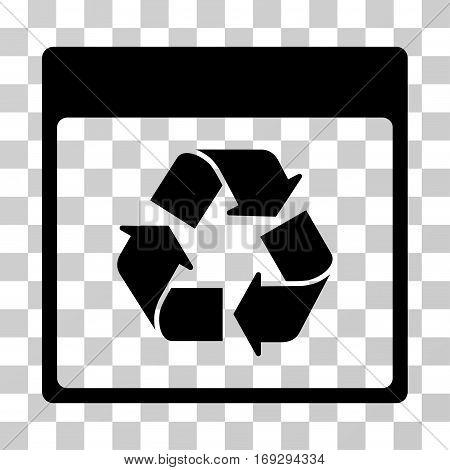 Recycle Calendar Page icon. Vector illustration style is flat iconic symbol black color transparent background. Designed for web and software interfaces.